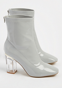 Gray Patent Leather Clear Heel Booties