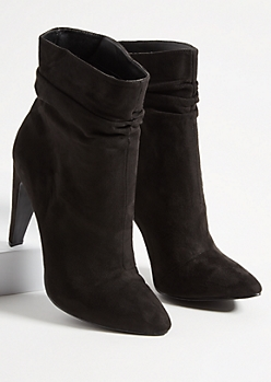 Black Faux Suede Slouchy Stilleto Booties