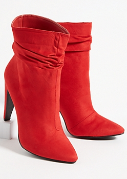 Red Faux Suede Slouchy Stilleto Booties