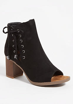Black Open Toe Lace Up Booties