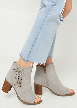 Light Gray Open Toe Lace Up Booties