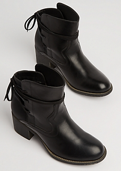 Black Faux Leather Wrap Laced Booties