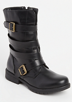Black Strapped Combat Boots