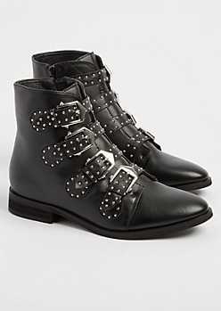 Black Studded Buckle Booties