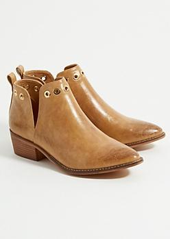 Tan Grommet Detailed Western Ankle Booties