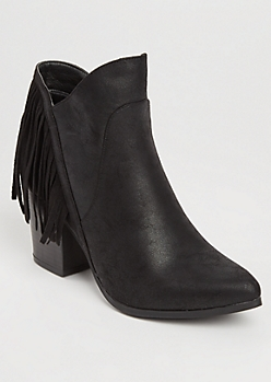 Fringed Faux Leather Black Booties