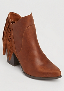 Fringed Faux Leather Cognac Booties