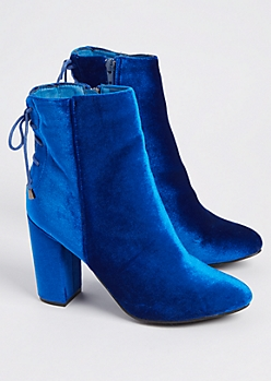 Blue Velvet Lace Up Booties