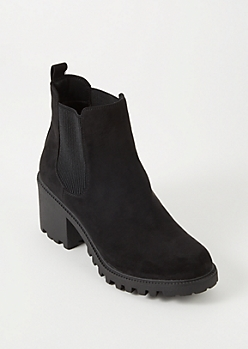 Black Faux Suede Side Gore Lug Boots
