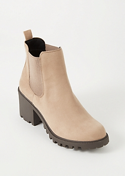 Taupe Faux Suede Side Gore Lug Boots