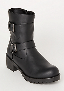 Black Buckle Moto Lug Boots