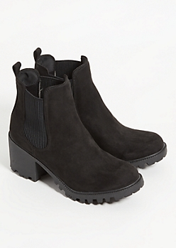 Black Treaded Heel Booties