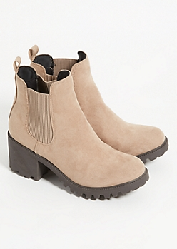 Taupe Treaded Heel Booties