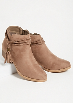 Taupe Braided Tassel Wrap Ankle Booties