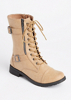 Taupe Double Buckled Combat Boots