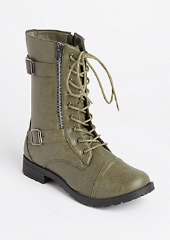Olive Double Buckled Combat Boots
