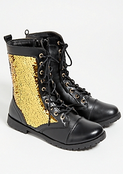 Black Sequin Side Lace Up Combat Boots