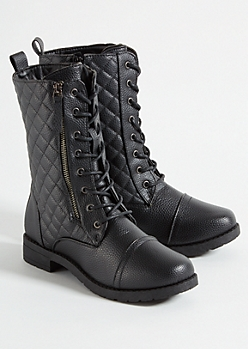 Black Quilted Double Zip Side Combat Boots