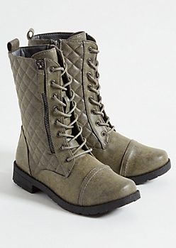 Gray Quilted Double Zip Side Combat Boots