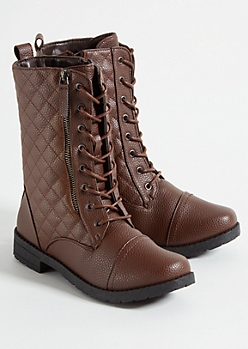 Brown Quilted Double Zip Side Combat Boots