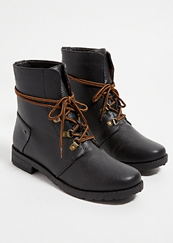 Black Brown Lace Up Hiking Boots