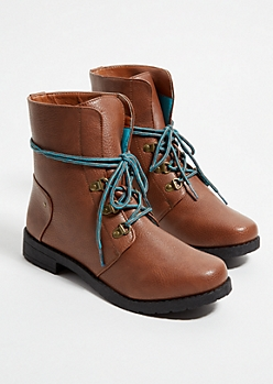 Light Brown Teal Lace Up Hiking Boots