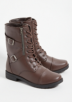 Dark Brown Faux Leather Lace Up Boots