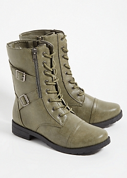 Dark Olive Faux Leather Lace Up Boots