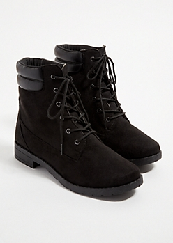 Black Faux Suede Lace Up Hiking Boots