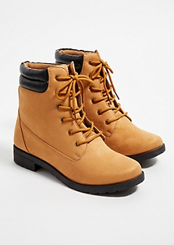 Camel Faux Suede Lace Up Hiking Boots
