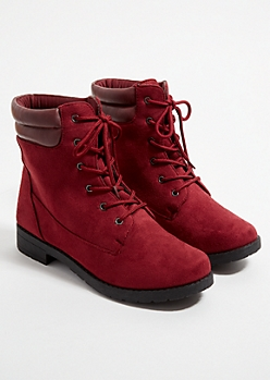 Burgundy Faux Suede Lace Up Hiking Boots