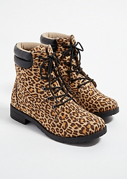 Leopard Print Faux Suede Lace Up Hiking Boots