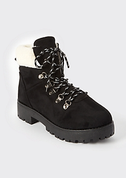 Black Shearling Hiker Boots