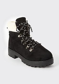 Black Shearling Hiker Boots