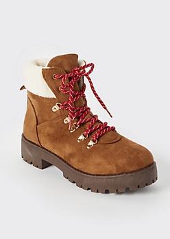 Cognac Shearling Hiker Boots
