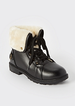 Black Shearling Fold Over Boots