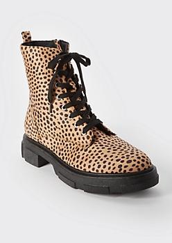 Cheetah Print Combat Boots