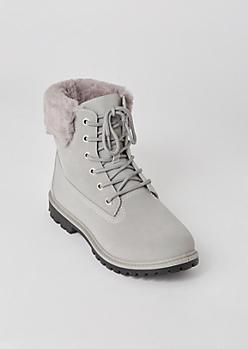 Gray Matte Fur Trim Combat Boots
