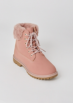 Pink Matte Fur Trim Combat Boots