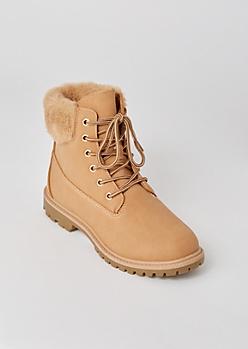 Tan Matte Fur Trim Combat Boots