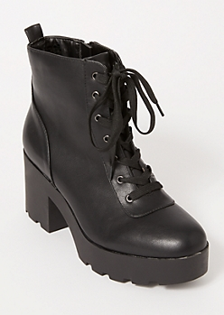 Black Platform Lace Up Hiker Booties