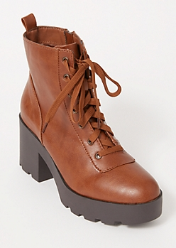 Brown Platform Lace Up Hiker Booties