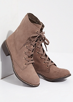 Taupe Faux Fur Lined Metallic Combat Boots