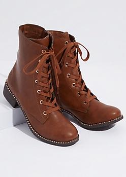 Cognac Faux Fur Lined Metallic Combat Boots