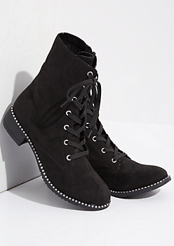 Black Faux Fur Lined Metallic Combat Boots