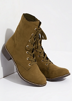 Olive Faux Fur Lined Metallic Combat Boots
