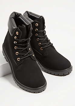 Black Lace Up Padded Boots