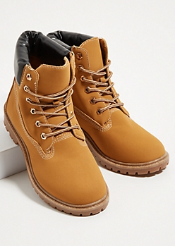 Tan Lace Up Padded Boots