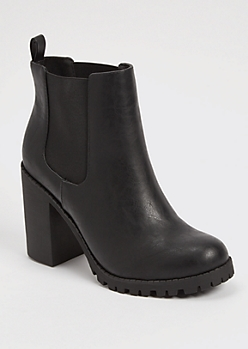 Black Side Gore Heeled Lug Sole Booties