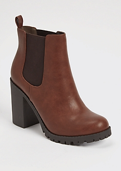 Brown Side Gore Heeled Lug Sole Booties